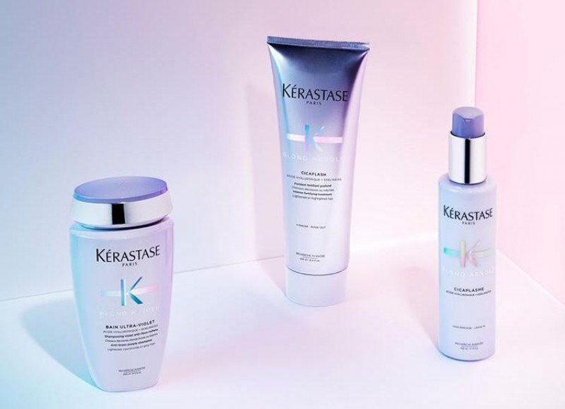 Kerastase Blonde Absolu Ultra violet purple shampoo, Cicaflash conditioner, Cicaplasme hair primer