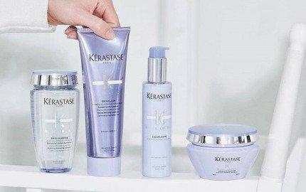 Kerastase Blonde Absolu Bain Lumiere, Cicaflash conditioner, Cicaplasme hair primer, Ultra violet mask
