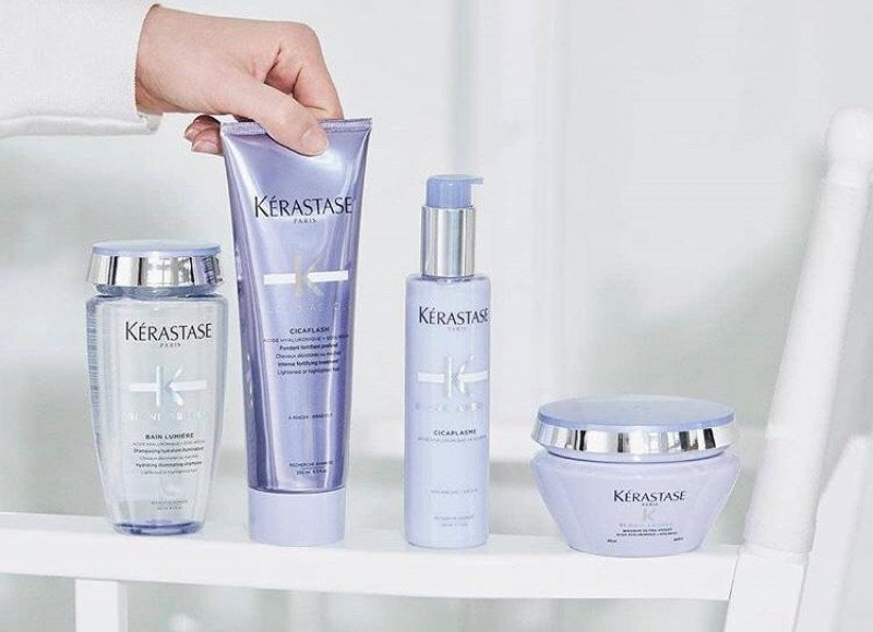Kerastase Blonde Absolu Bain Lumiere, Cicaflash conditioner, Cicaplasme hair primer, Ultra violet mask